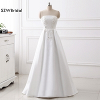Fashion Strapless A Line Satin Wedding dress 2018 Vestido de noiva Casamento Sexy Bride dress Plus size vestido branco