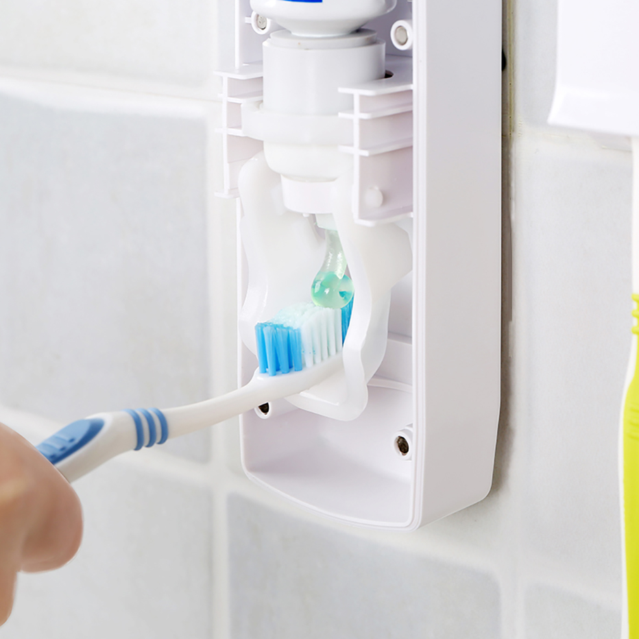 geekoplanet.com - Automatic Toothpaste Dispenser with Toothbrush Holder