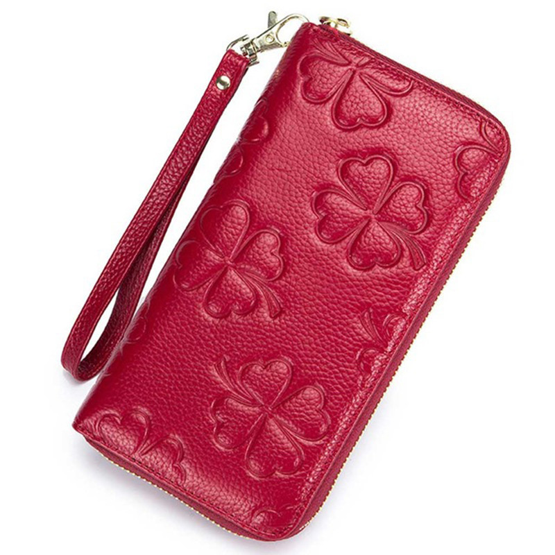 Genuine Leather Wallet Women Solid Embossed Clover Long Purse Ladies RFID Credit Card Holders Female Clutch Wallets