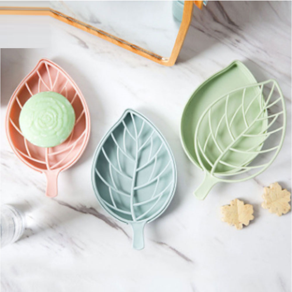 Leaf Shape Soap Holder Non Slip Soap Box Toilet Shower Tray Draining Rack Bathroom Gadgets Soap Dish Soap Tray Holder