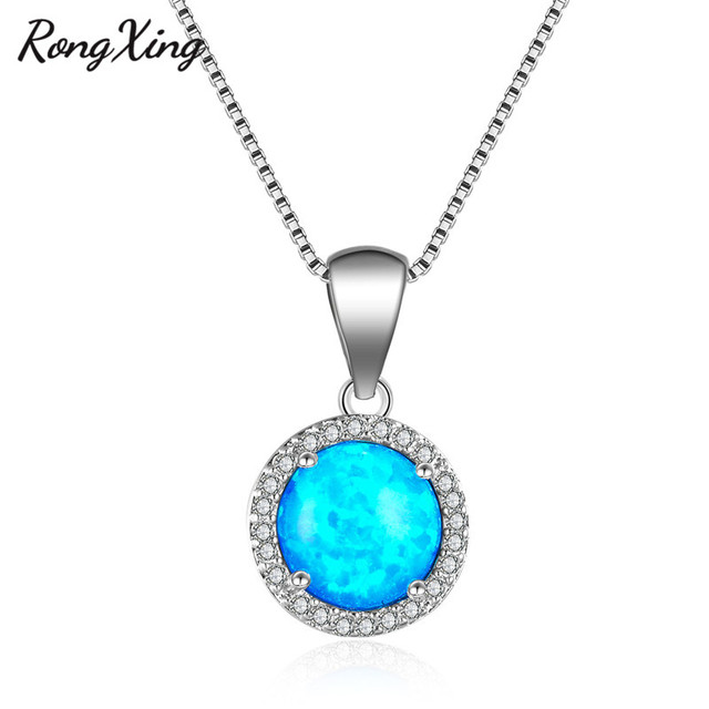 RongXing Big Round Blue Fire Opal Pendants Necklaces for Women Simple Fashion  Jewelry 925 Sterling Silver Filled Necklace NL0093 4f28ed90cf43