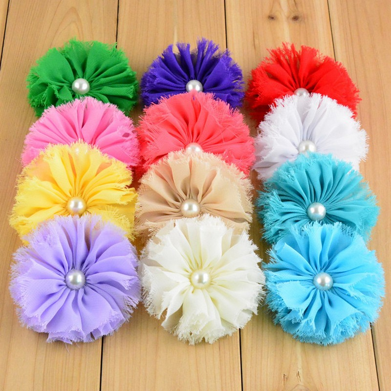 30pcs/Lot 7CM Multicolors ABS Pearl Shabby Chiffon Flowers DIY Baby Girl Hair Band Accessory Dress Cloth Shoes Decoration Supply