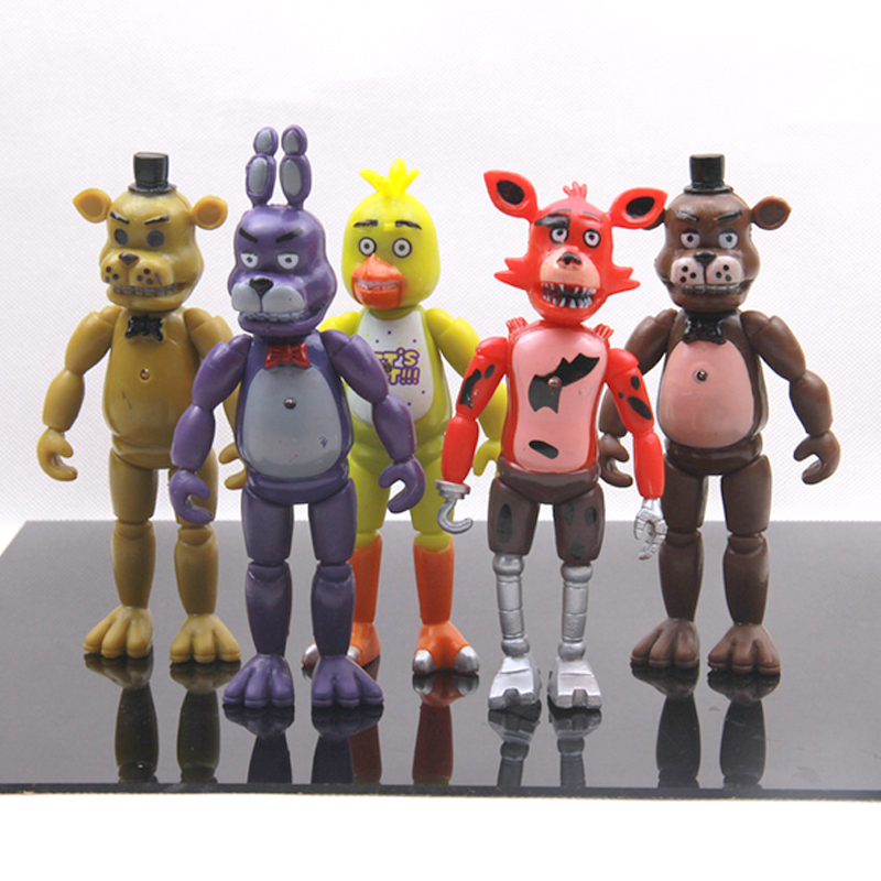 New 5 Pcs/set Five Nights At Freddy's Action Figure Toys Foxy Freddy Chica Freddy PVC model Dolls With LED Lights for kids gift 24 pcs set the elves papa smurfette clumsy figures elves papa action figure for children toys dolls blue color birthday gift