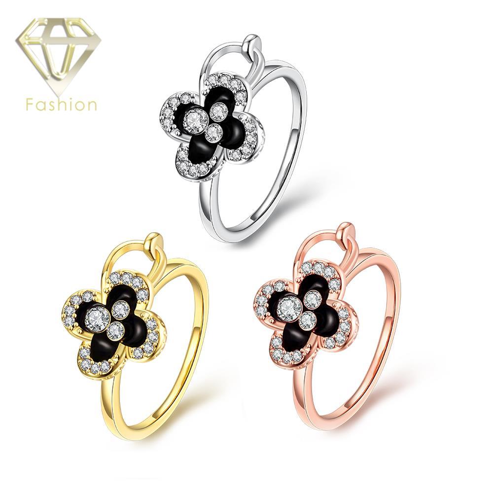 3f072b836ab Delicate Checa Cristal Clover Rose Ouro Branco Cor Anel de Jóias para As  Mulheres Do Partido