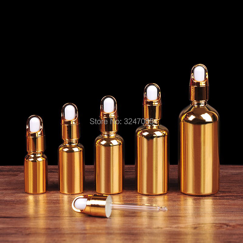 20pcs lot 10ml20ml30ml50ml100ml Basket Cap Essential Oil Bottle Glass Gold Empty Dropper Container Portable Women Makeup