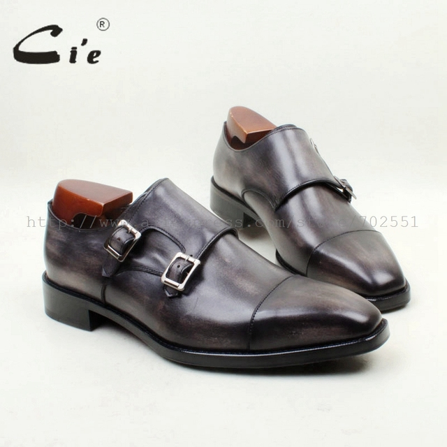 cie Square Cap Toe Handmade 100% Genuine Calf Leather Outsole Breathable Hand-Painted Grey Double Monk Straps Men Shoe MS143