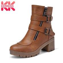 KemeKiss Size 34-43 Sexy Women Ankle High Heel Boots Zipper Winter Shoes Women Metal Buckle Thick Heel Boots Warm Short Botas