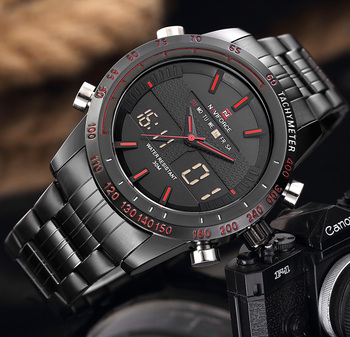 New Luxury Brand Dual Time Clock Full Stainless Steel Men's Waterproof Watch 3