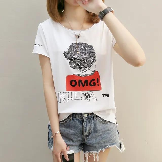Summer Women Cute Cartoon Printing Loose Short Sleeve T-shirt Tshirt Harajuku T-shirts Sweet Plus Size Tops Tees Clothing