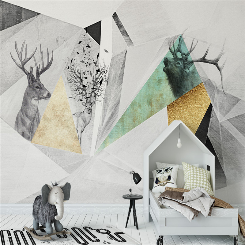 modern 3d room wallpaper custom mural non-woven wall sticker 3d abstract geometry abstract elk photo 3d wall mural wallpaper 3d wallpaper custom mural non woven cartoon animals at 3 d mural children room wall stickers photo 3d wall mural wall paper