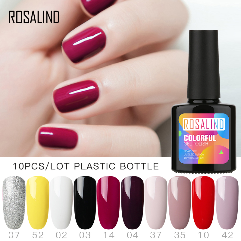 10PCS/LOT ROSALIND 10ML Gel Nail Polish Classic Nail Gel Set Classic Color Soak Off UV Nail Art Manicure Gel Polish Varnish Kit