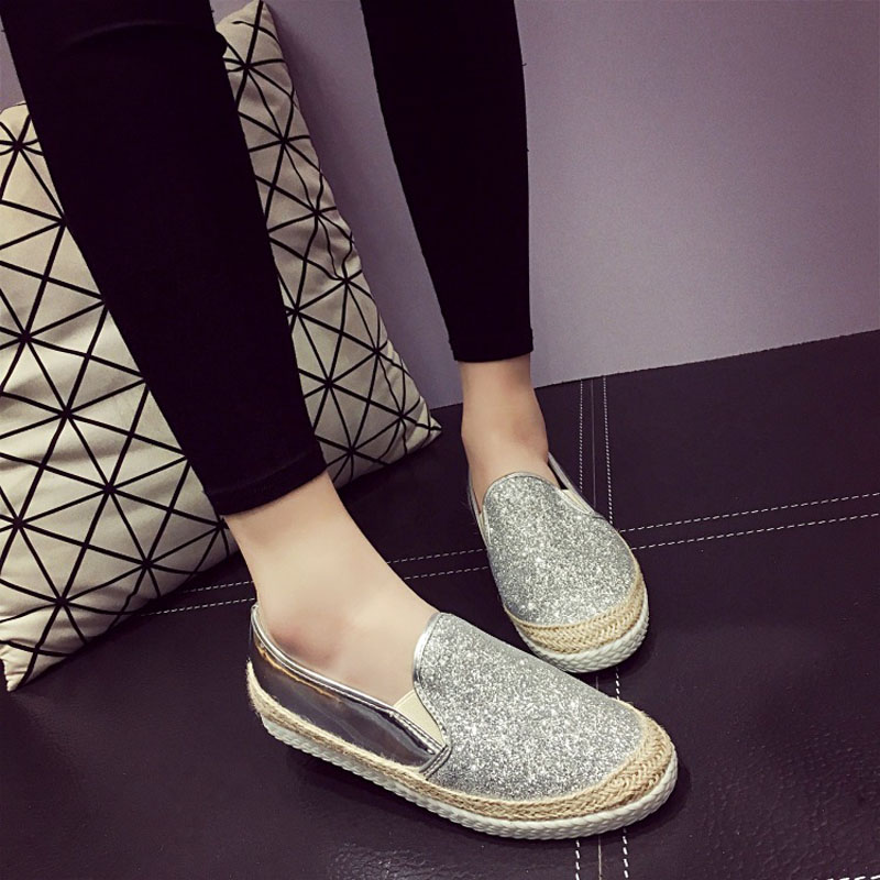 2016 Spring Fall font b Women b font Shoes Flat Shoes Gold Black Sliver Pink Loafers