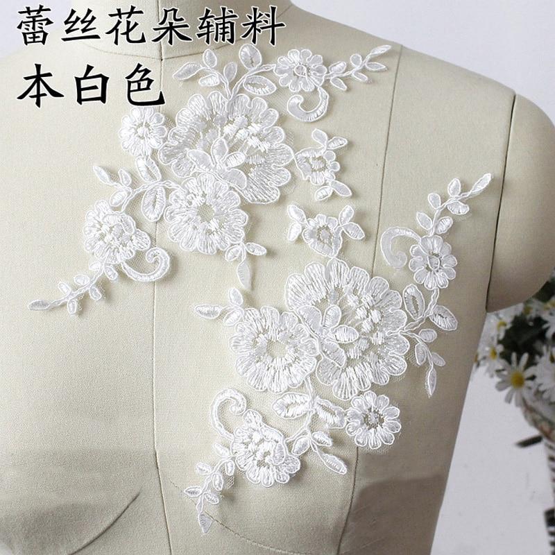 10X Virágos Virág Velence Venise Fehér Csipke Applique - Művészet, kézművesség és varrás