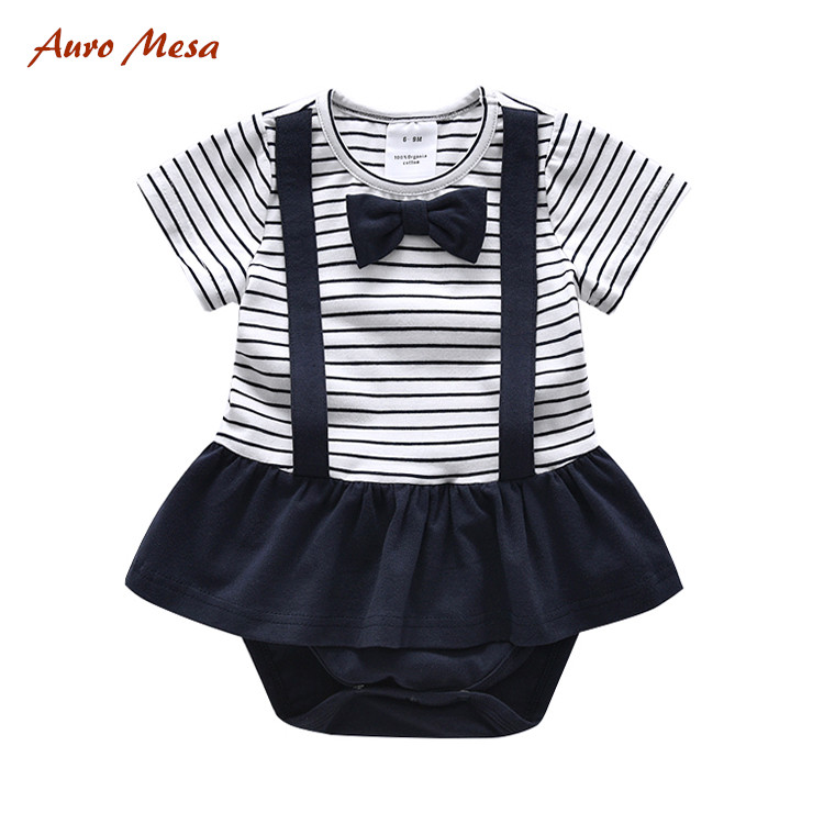 2017 Summer Baby Girl Body Suit 100%Cotton Bow Tie Jumpsuit Striped Infant Dress Bodysuits Onesie