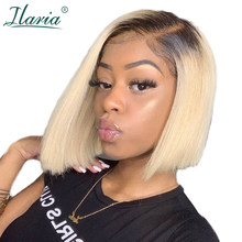 Ilaria 1B 613 Dark Root Blonde Short Bob Lace Front Human Hair Wigs With Baby Hair Brazilian Remy Ombre Bob Wig For Black Women(China)