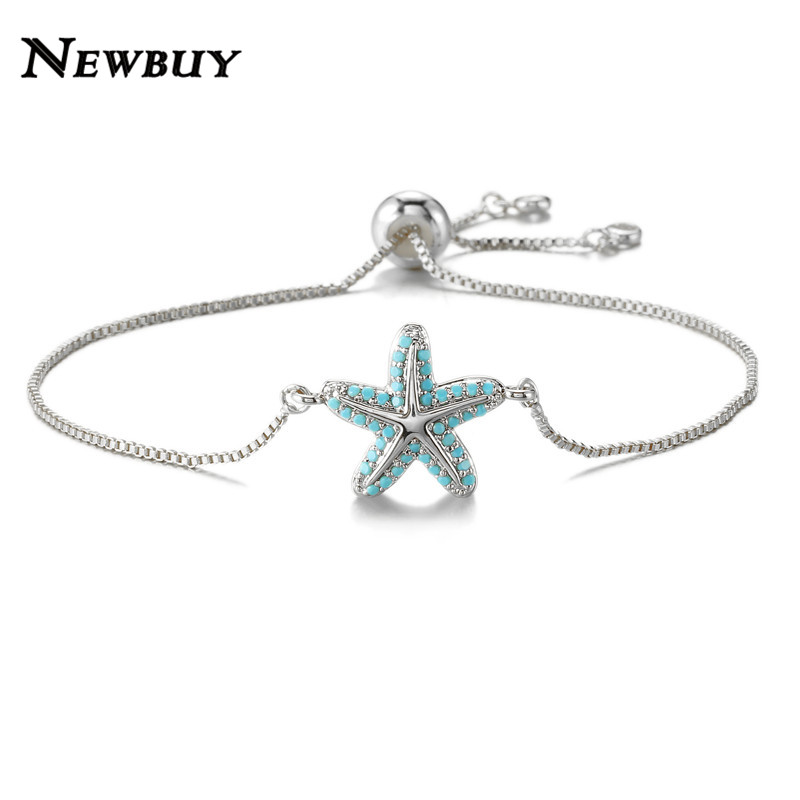NEWBUY Trendy Starfish Charm Bracelets For Women Blue Zirconia Bracelet Female Party Jewelry Dropship Femme Bijoux Wholesale