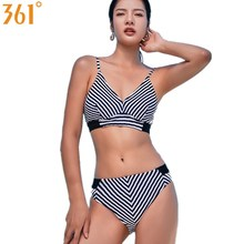 Купить с кэшбэком 361 Sexy Bikinis for Women Striped Swim Wear 2018 Wire Free Push Up Bikinis Quality Female Swimwear Girl Halter Bathing Suit