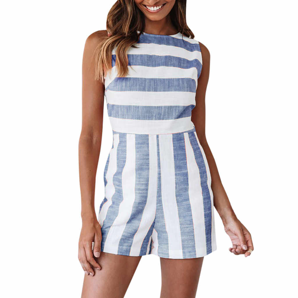 Женская мода Boho комбинезоны весенний комбинезон в полоску с круглым вырезом без рукавов с высокой талией повседневные Костюмы пляжного стиля уличная женская одежда 2019
