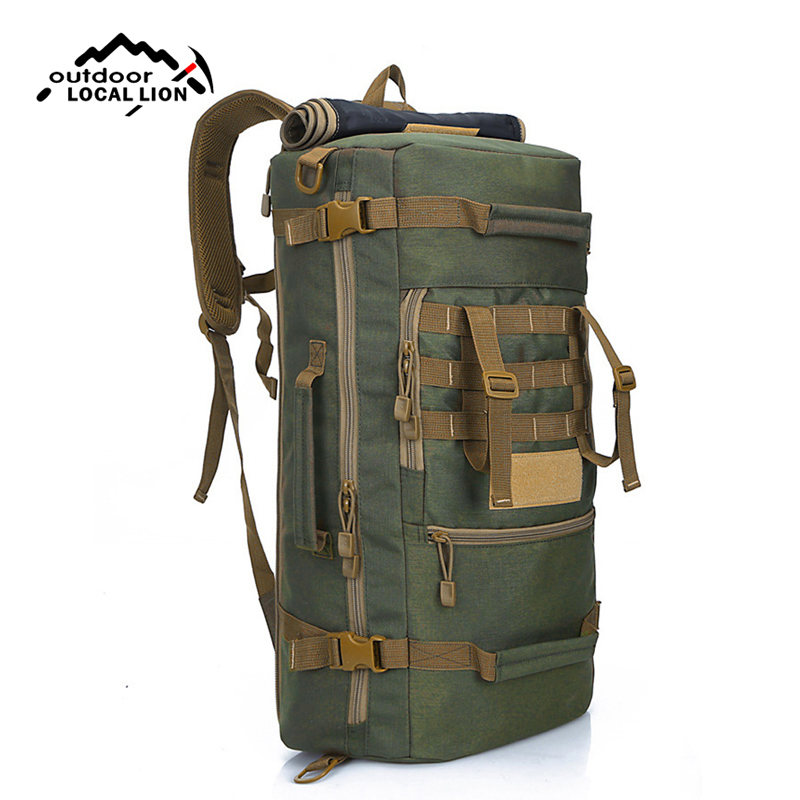 e4b560925e08 Top 50L Tactical Backpack Male Multifunctional Nylon MOLLE System Climbing  Rucksack Travel Hiking Hunting Fishing Bags XA802WD