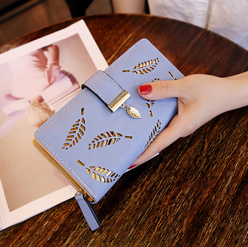 Women Wallets Purses Hollow Leaf Long Wallets For Girl Ladies Money Coin Pocket Card Holder Female Wallets Phone Clutch Bags
