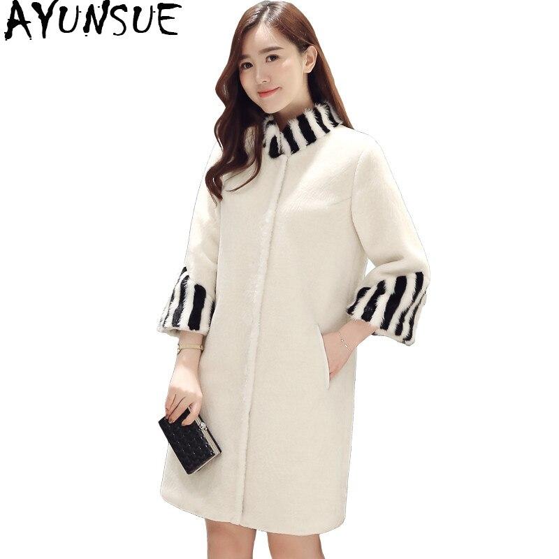 AYUNSUE для женщин s овечья шерсть пальто с мехом из натуральной норки воротник стойка натуральная шерсть пальто теплая зимняя куртка женская в...
