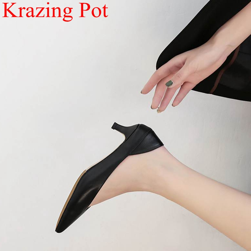 2018 fashion genuine leather thin heels women pumps concise office lady elegant sweet shallow slip on classic sweet shoes L23 xiaying smile woman pumps british shoes women thin heels style spring autumn fashion office lady slip on shallow women shoes