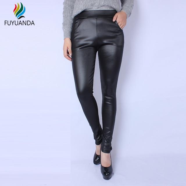 e12ee6e2b5c6 € 11.87 |Pantalones Calientes Del Invierno de piel Sintética de Alta  Cintura Leggings Mujeres Negro Bottoms Pantalones Sexy Workout Plus Size  5XL ...