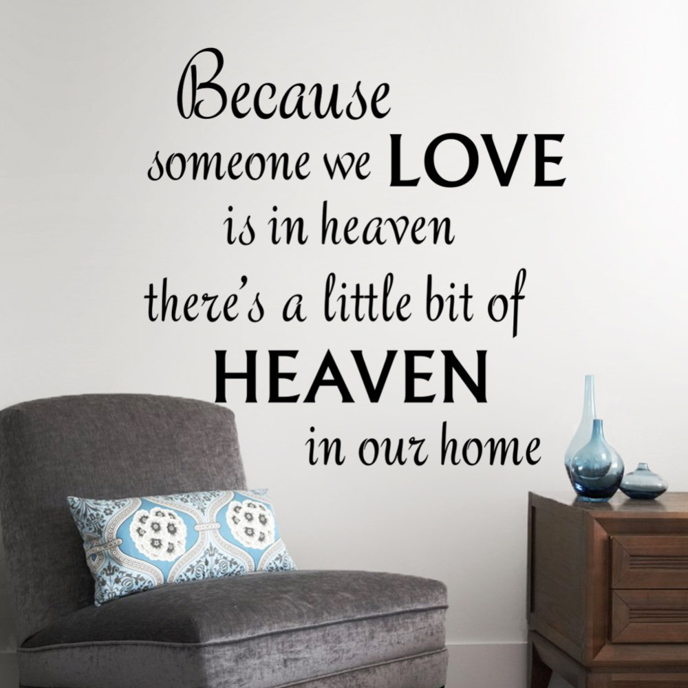 New warm quote love heaven home decal wall sticker - Removable wall stickers living room ...