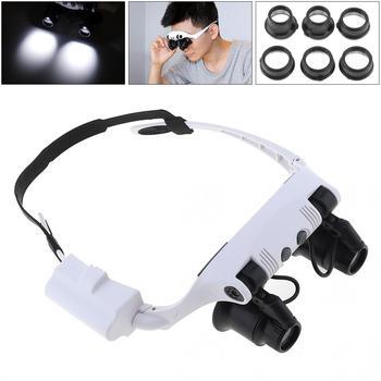 dc4146b588 Diadema 10X 15X 20X 25X luz LED gafas lupa relojero joyería de lente óptica  de vidrio lupa de la lupa instrumento