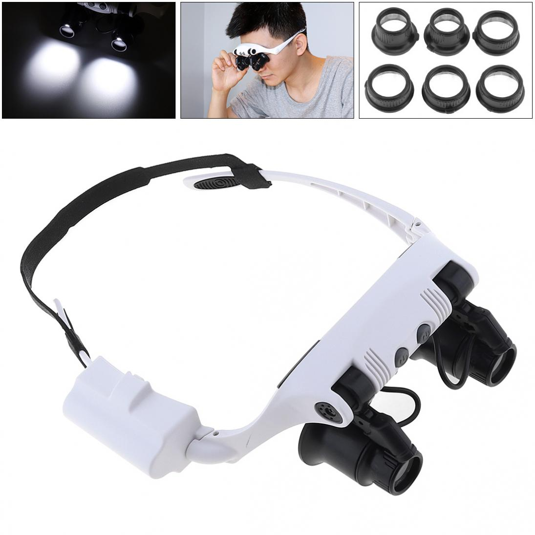 Headband 10X 15X 20X 25X LED Light Glasses Magnifier Watchmaker Jewelry Optical Lens Glass Magnifier Loupe Instrument
