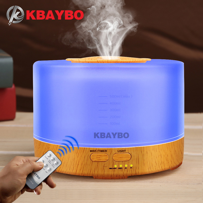 500 ml Umidificador Aroma Difusor Óleo Essencial com 4 Definições Do Temporizador de Controle Remoto 7 Mudando de Cor LEVOU lâmpada
