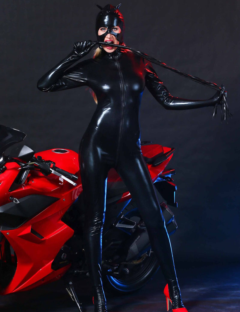 Women Black Faux Leather Catsuit <font><b>Sexy</b></font> Catwoman <font><b>Costume</b></font> <font><b>Cat</b></font> Cosplay Footed Jumpsuit Stretchable 2 Way Zipper Bodysuit With Mask image