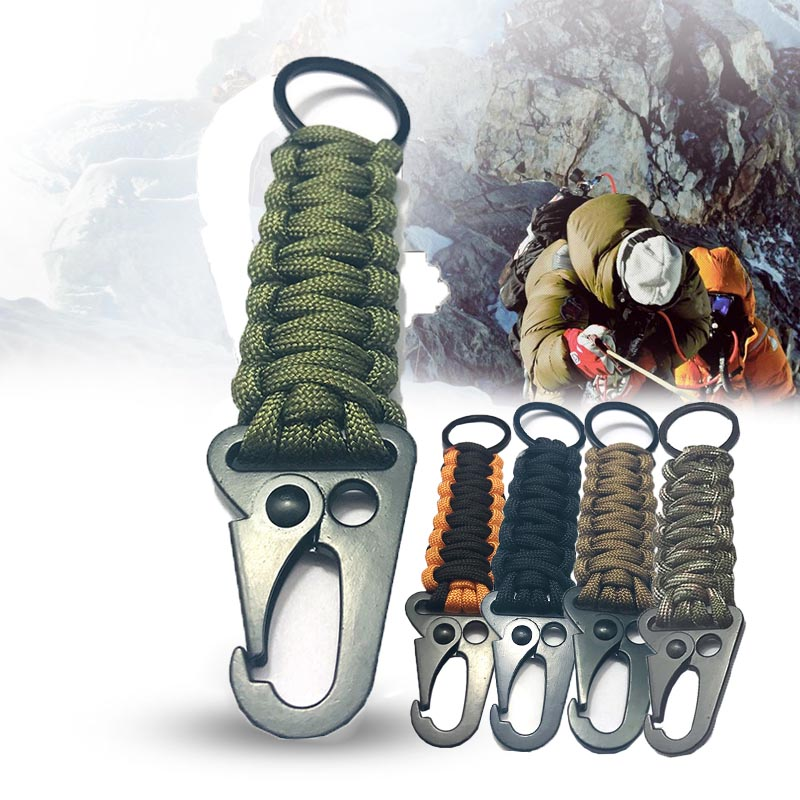 Paracord Rope Keychain Carabiner Braided Lanyard Hook Emergency Key Chain For Outdoor Activity Hiking Camping EDC Survival Kit