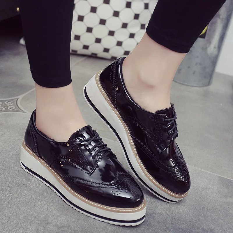2016 Europe Style Fashion Women Casual Leather Platform