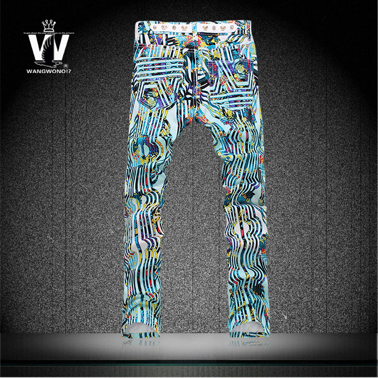 Original Summer Colored drawing print jeans male slim elastic flower pants man made in china jeans