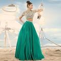 2016 Dois 2 Peça Prom Vestidos Longos A linha De Piso de Cristal comprimento Sexy Longo Pageant Vestido de Festa de Formatura vestido de festa de gala