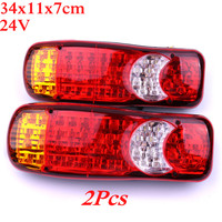 2Pcs Waterproof 24V Truck LED Tail Light Rear Lamp Stop Reverse Safety Indicator Fog Lights for Trailer Truck Car Taillights