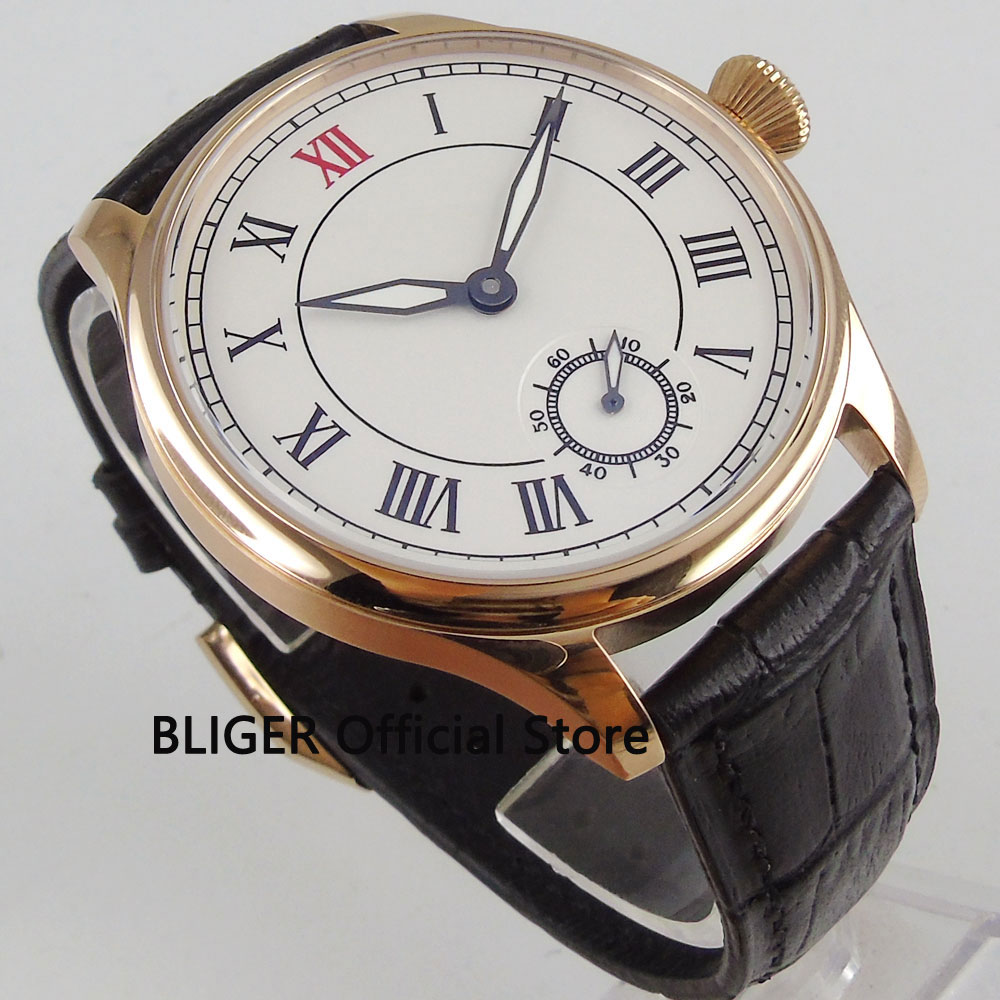 44MM White Sterile Dial Stainless Steel Rose Golden Case Black Roman Numerals 17 Jewels 6498 Hand Winding Movement Men's Watch все цены