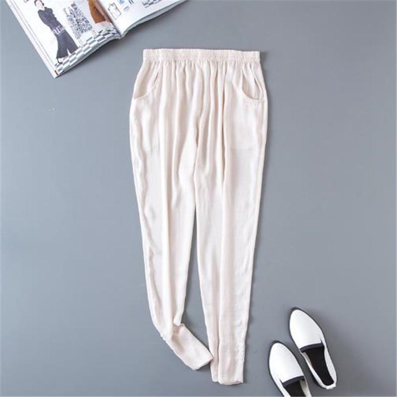bbfaffab77 Completa Primavera Mujer Sólido La 6 Longitud Bolsillo Verano Beige Haren 3 Pantalones  Pants Harem Cintura Elástica ...