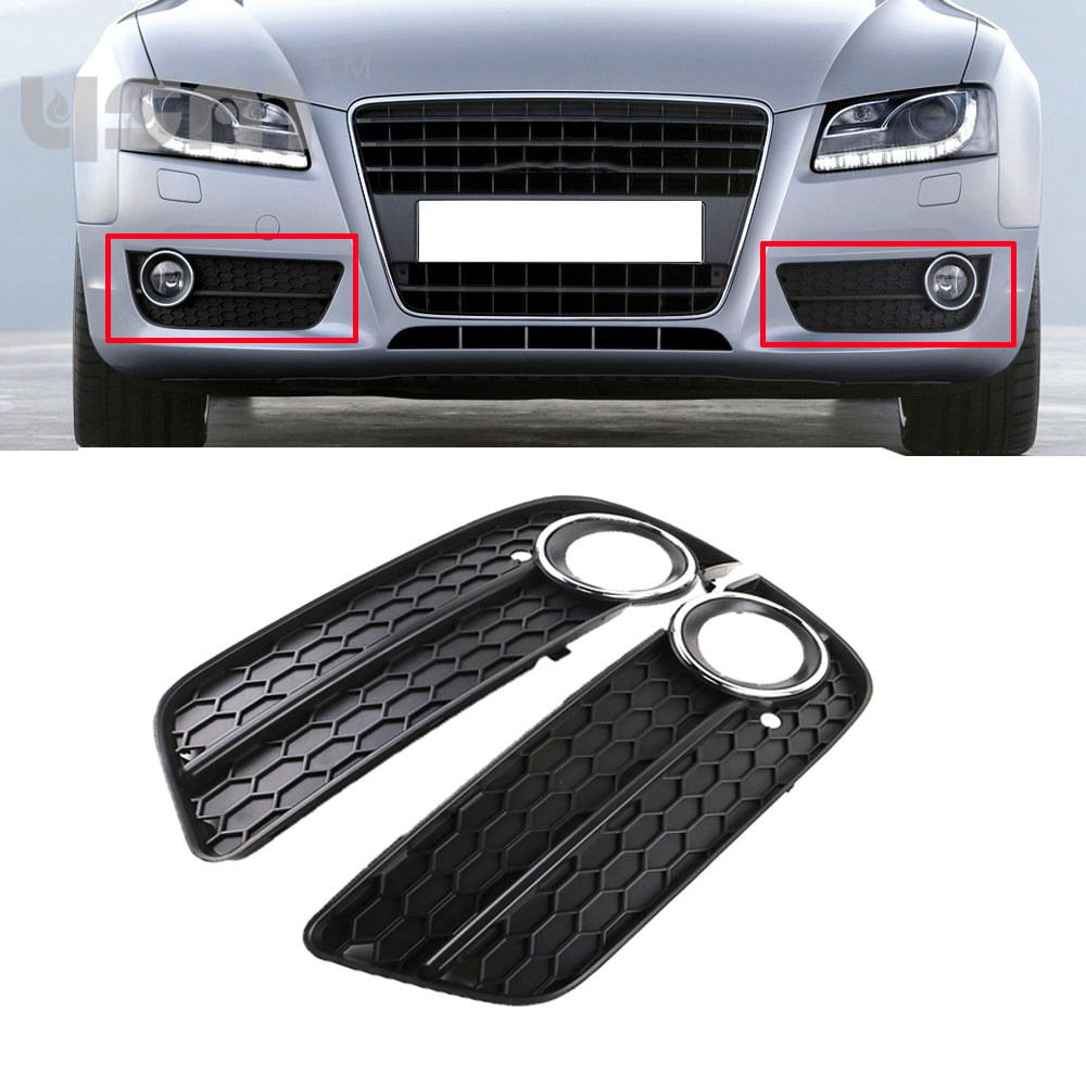 New Pair Front Bumper Fog Light Lamp Grille Grill Cover Chrome For Audi A5 08-11 8T0807681 8T0 807 681 8T0807682 8T0 807 682 1set front chrome housing clear lens driving bumper fog light lamp grille cover switch line kit for 2007 2009 toyota camry