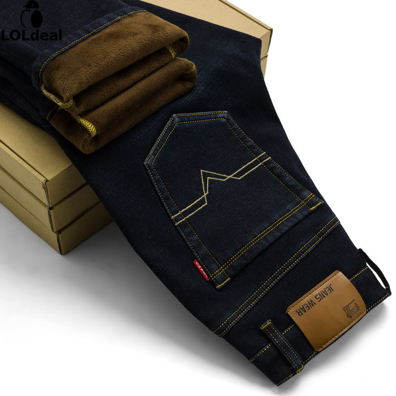 Mens Warm  Pants  Denim Stretch Jeans Size  Men's Thick Winter High-quality Jeans without fur jeans