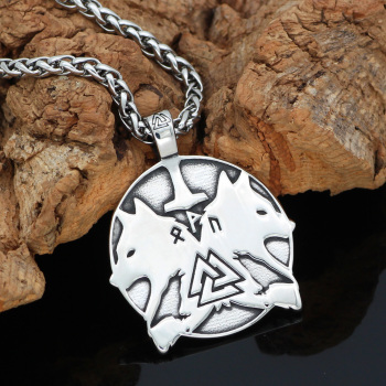 Nordic Viking Odin Wolf Geri And Freki Rune Circle Pendant Necklace  Viking Necklace