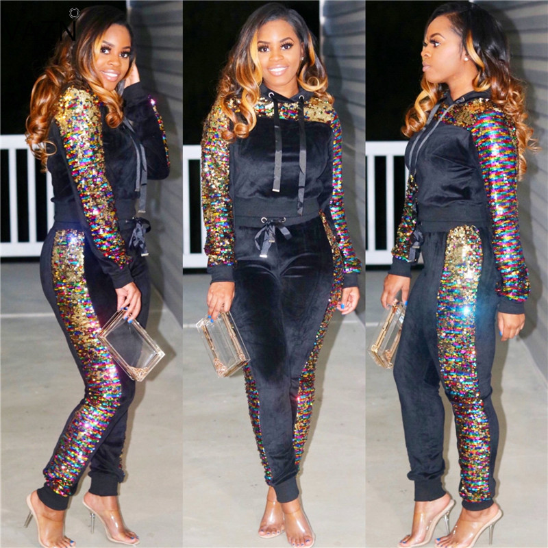 VAZN New 2018 Fashion Casual Women Sequined Jumpsuits Solid Hooded Full Sleeve Jumpsuits 2-Pieces Ladies Skinny Jumpsuits PN6100