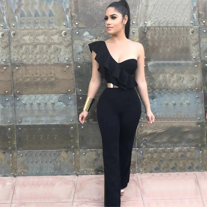2018 New Arrival Elegant Ruffles Black Jumpsuit Fashion Women One Shoulder Sleeveless Chic Solid Evening Party Bandage Jumpsuits