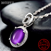 Purple Crystal Pendant Necklace 925 Sterling Silver Woman Charm Necklace Luxury Boutique Female Jewelry