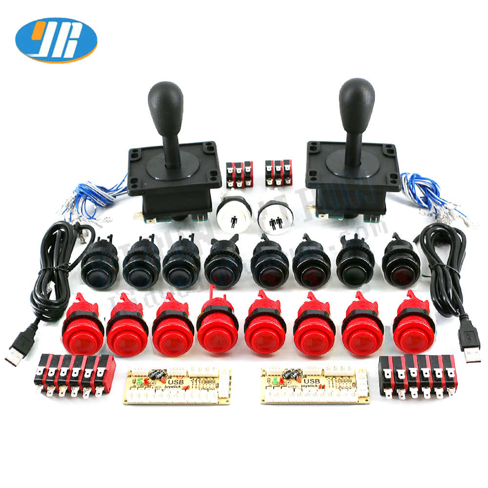 DIY Arcade Game kit USB To Zero Delay Board USB Encoder To PC /Raspberry pi 8 WAY Joystick 28mm Push Button 2 player set