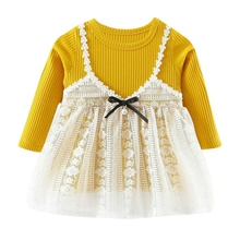 77317b55eb52 2017 New Autumn Baby Girl Princess Dress Cotton Top With Lace Sling  Children Dresses Kids Cute