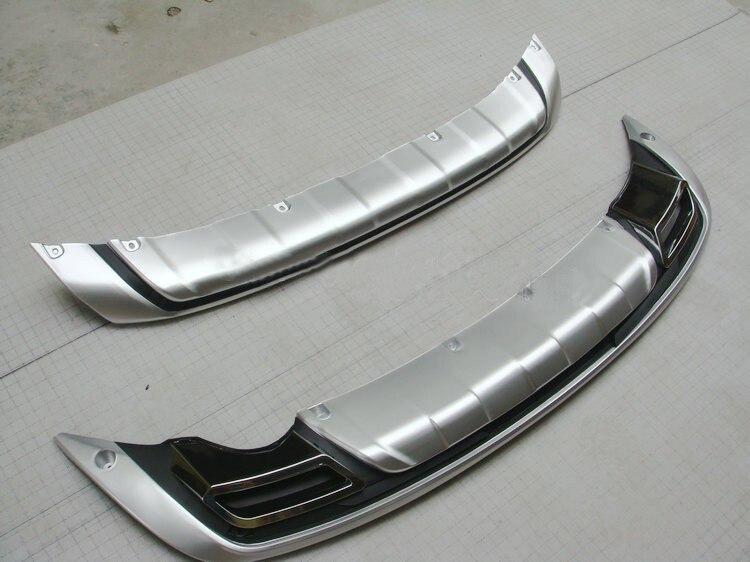 цена на For Kia Sportager 2011 2012 2013 High quality plastic ABS Chrome Front+Rear bumper cover trim 2pcs