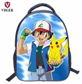 VIIGER Japanese Anime Pokemon Pikachu Children Nylon School Bags Backpack Women Printing Backpacks for Teenage Girls Kids Boys