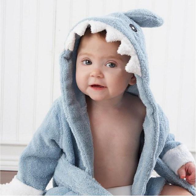 1Pcs Cute Cotton Baby Shark Bathrobe Long Sleeve Light Blue Sleepwear  for Girl Boy Baby under 9 Month